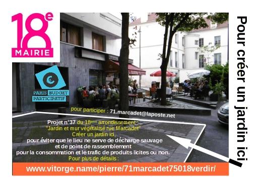 Proposition jardin et mur v g talis rue marcadet 75018 for Jardin 75018